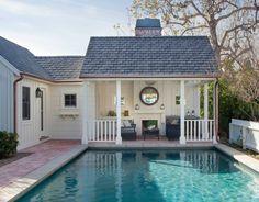 Coastal Cottage Renovation in Pacific Palisades Pool House Designs, Pergola Designs, Enclosed Gazebo, Modern Gazebo, Pool Shed, Pool Cabana, Cottage Renovation, Garden Gazebo, Terrace Design