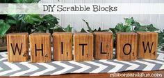 DIY Personalized Scrabble Blocks {ribbonsandglue.com}