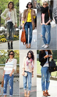 boyfriend jeans...I realize at 40, I'm too old to wear any of these looks in their entirety, but I'm flirting with the idea of a boyfriend jean. Just not ripped. I did enough of that in the 80's