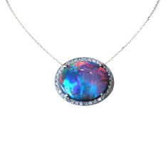 Fine Black Opal and Pave Diamond Pendant - The Goldsmiths & Silversmiths Co. Collection