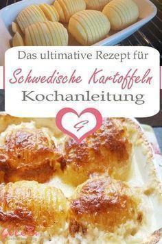 Rezept für gebackene Schwedische Kartoffeln - perfekte Beilage zu gegrilltem Gemüse oder Fleisch, lecker mit Käse überbacken