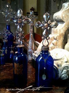 Vintage Blue Cross Bottles