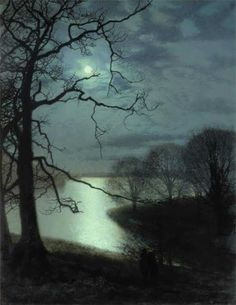 John Atkinson Grimshaw Watching a Moonlit Lake print for sale. Shop for John Atkinson Grimshaw Watching a Moonlit Lake painting and frame at discount price, ships in 24 hours. Charles Edward, Atkinson Grimshaw, Moonlight Painting, Lake Painting, Lake Art, Moon Art, Night Skies, Landscape Paintings, Landscape Rocks