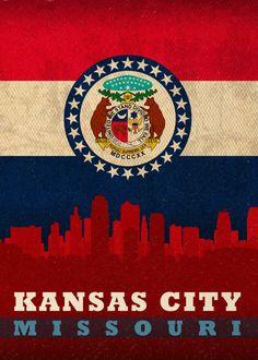 Kansas City Missouri State Flag Vintage Canvas Print with Black ...