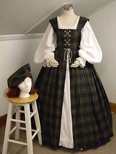 ... ,SCA,Medieval,Irish Over Dress/Gown Green & Pink Tartan Plaid