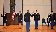 MARK SCHLACHTENHAUFEN | THE EDMOND SUN Lt. Col. Michael T. Teifke administers the Oath of Office to four new Army officers during the Dec. 14 morning's commissioning ceremony at UCO. From far left, are 2nd Lt. Nicole Warren, 2nd Lt. Rachel Nelson, 2nd Lt. Johnny Martin and 2nd Lt. Matt Blubaugh. For more information, see story at http://www.edmondsun.com/local/x1332358256/UCO-commissions-new-ROTC-officers.