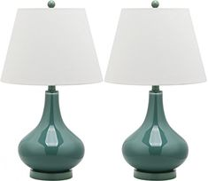 Shop for Safavieh Lighting Amy Gourd Glass Marine Blue Table Lamp (Set of - Get free delivery On EVERYTHING* Overstock - Your Online Lamps & Lamp Shades Store! Get in rewards with Club O! Green Table Lamp, Table Lamp Sets, Amy, Gourd Lamp, Light Bulb Wattage, Standard Lamps, Glass Table, Decoration, Lamp Light