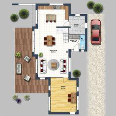 Maison moderne vide sur séjour St Gilles Croix de Vie - Depreux Construction Construction, House Plans, Villa, Floor Plans, How To Plan, Deco, Architecture, Home, Houses