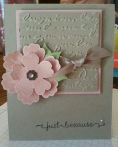 A Dozen Thoughts & Flower Shop Stampin' Up! Stamp Set  Cardstock: Crumb Cake,  Blushing Bride, Wild Wasabi  Ink: Stayz On Black Punch:  Pansie Embossing Folder: Script  CASE'd from Dawn Musil.     Amy D. Knight @ www.pawsitivelyinspired.stampinup.net