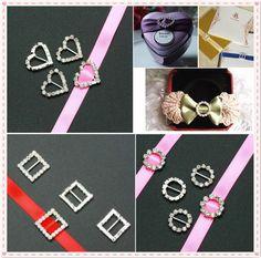 New 5-20 Pcs Set Rhinestone Buckle Invitation Ribbon Slider For Wedding Supplies