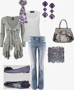 Casual Outfits | Amethyst and Grey  Grey Cardigan, Fenn Wright Manson Top, PARENTESI Flat Shoes, H&M Jeans, Zagliani Python Bag, CC Blossom Silk Scarf  by billye30