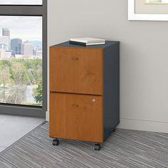 Bush Business Furniture Series A 2 Drawer Mobile File Cabinet, Light Oak/Sage