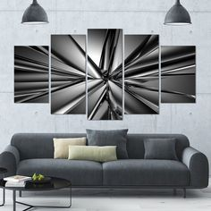Designart 'Futuristic Crystal Background' Abstract Canvas Art Print- 60x32 5 Panels