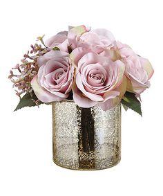 Another great find on #zulily! Small Hydrangea Rose & Glass vase Décor Set #zulilyfinds
