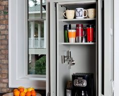 Love this coffee cabinet! I would love to have that water faucet in a small 'coffee' cabinet away from the sink! New Kitchen, Kitchen Dining, Kitchen Decor, Kitchen Cabinets, Kitchen Interior, Hidden Kitchen, Kitchen Modern, Kitchen Corner, Awesome Kitchen