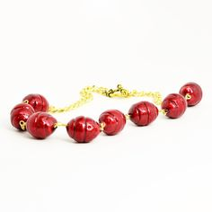 Deep Red Fabric Beaded Gold Chain Choker