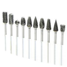 10 unids brocas de carburo de tungsteno rebabas de metal tungstenio fresas de fresado cnc de corte dremel mini taladro cono set ferramentas