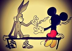 Smoking Mickey Mouse & Bugs Bunny