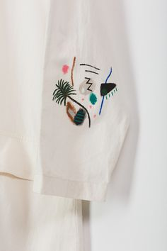 Vintage long cotton button up jacket with painted detailing by BFGF. Garment Exchange Series by TUSK and BFGF Custom Clothes, Diy Clothes, Kurti Patterns, Indian Designer Outfits, Needlepoint Patterns, Simple Dresses, Shirts For Girls, Couture Fashion, Hand Embroidery