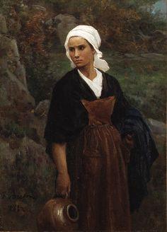 Jules Breton (1827-1906) - Femme portant une cruche 1882