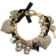 Betsey Johnson Pave Large Heart Toggle Bracelet