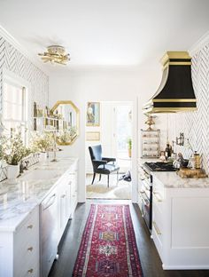 A splash of colour in a neutral kitchen