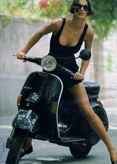wonderful #girl on #vespa PX #italiandesign