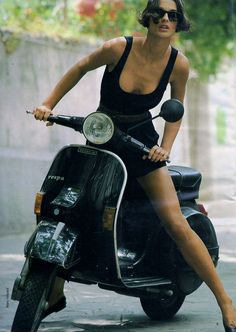 wonderful #girl on #vespa PX #italiandesign