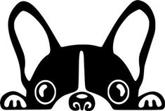 Boston Terrier/ French Bulldog/ Frenchie Dog Peeking Out Vinyl Decal Sticker Silhouette Portrait, Dog Silhouette, Stencil Art, Dog Stencil, Stenciling, String Art, Dog Art, Vinyl Decals, Car Decal