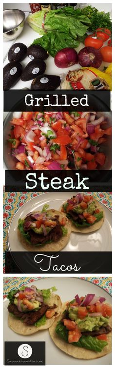 Grilled Steak Tacos with Guacamole and Salsa! Another easy weeknight meal, perfect for summertime grilling.