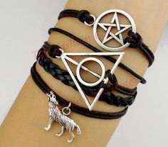 Pagan and Wiccan, Deathly Hallows, Wolf Bracelet, Dean Winchester, Supernatural, Pentagram, Pentacle Star, Brown Wax, Black Leather Braid