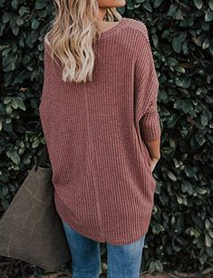 165c838508a69 Women s Casual Button Down Front Knot Knit Sweaters Shirts Henley Long Sleeve  V Neck Tunic Blouse