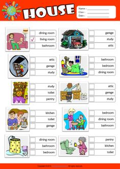 Parts of a House ESL Multiple Choice Worksheet For Kids