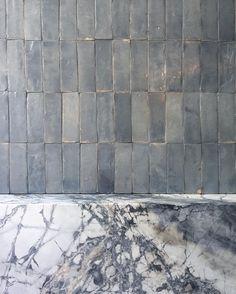 modern bathroom with stacked zellige tile and marble shelf Bathroom Inspiration, Interior Design Inspiration, Interior Architecture, Interior And Exterior, Diy Patio, Tile Design, Bathroom Interior, Modern Bathroom, Home Remodeling