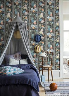 Romantic style child' room with beautiful dark blue