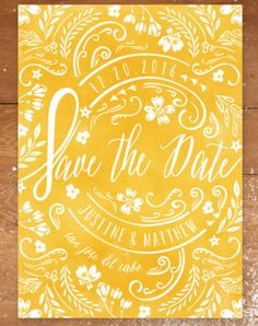 Add a burst of color to your wedding theme with a bright Save the Date card design from Minted.