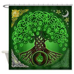 celtic tree of life | ... Symbol Bathroom Décor > Circle Celtic Tree of Life Shower Curtain