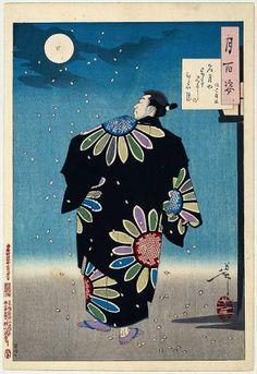 Tsukioka Yoshitoshi | Fukami Jikyu, 1887, Ink on paper/woodcut. The man in the magnificent kimono is an actor playing the part of Fukami Jikyu, a seventeenth-century otokodate, a Japanese fictional hero.  Rijksmuseum, Amsterdam.