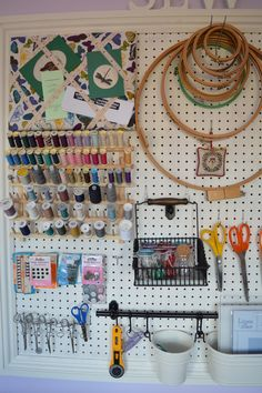 super ideas sewing room pegboard organization You are in the right place about pegboard ideas display Here we offer you the most beautiful pictures about the pegboard ideas how to make you are looking for. When you examine the super ideas sewing room. Sewing Pattern Storage, Sewing Room Storage, Craft Room Storage, My Sewing Room, Sewing Rooms, Fabric Storage, Craft Rooms, Pegboard Storage, Sewing Patterns