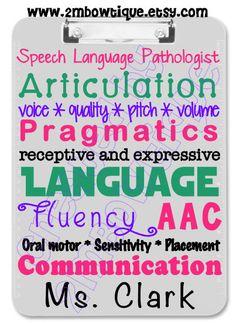 Speech Teacher/ SLP Appreciation Clipboard. Free personalization. Great Gift Idea.
