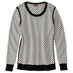 Merona® Women's Long-Sleeve Pullover Sweater - Black/White Dots