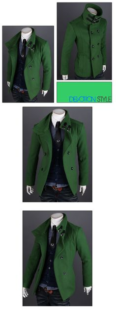 2013 New Arrival Winter Men's Double breasted Overcoat Single breasted Coat Short Design Woolen Wind Coat Men Slim Outerwear-inWool & Blends...