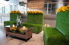 Grass Love Seats with Broadway Cocktail Table