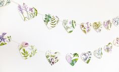 Lilac flowers heart bunting, Heart garland, Rustic Wedding decor, Heart Bunting, Purple floral Botanical Banner by PeonyandThistle on Etsy https://www.etsy.com/uk/listing/509256238/lilac-flowers-heart-bunting-heart