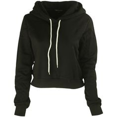 eaefc8f40e0 Solid Drawstring Cropped Hoodie ( 27) ❤ liked on Polyvore featuring tops