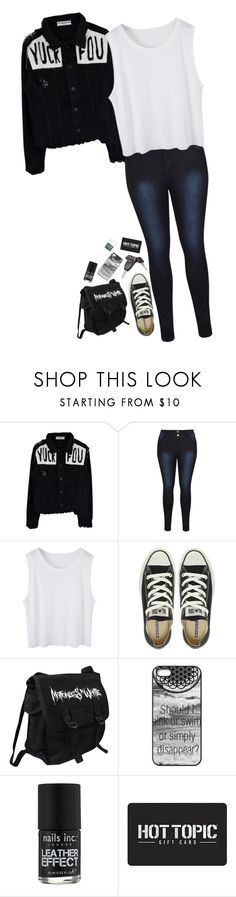 """""""Hey there Delilah"""" by xxghostlygracexx ❤ liked on Polyvore featuring Converse, Zone, Nails Inc. and Hot Topic"""