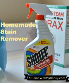 Homemade Stain Remover (Shout)   ⅔ cups Dawn Dishwashing Liquid ⅔ cups ammonia  6 Tblsp baking soda 2 cups warm water Mix everything together and pour into a spray bottle