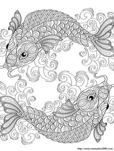 Yin And Yang Pieces Symbol Fish Absurdly Whimsical Adult Coloring Page