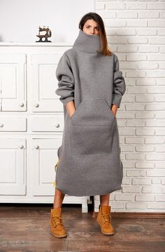 winter outfits plus size Rollkragen Pullover Tunik - winteroutfits Winter Dress Outfits, Winter Outfits Women, Dress Winter, Outfit Winter, Gray Dress Outfit, Sweater Dress Outfit, Sweatshirt Dress, Tunic Sweater, Mohair Sweater