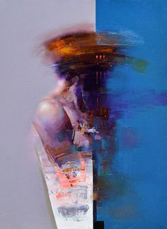 """""""ID 06"""" - Zin Lim, oil on canvas, 2014 {figurative #expressionist art human blue background torso abstraction cropped smudged grunge painting} http://saatchiart.com/Zinlim"""